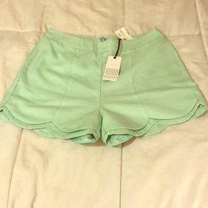 NWT Mint Green Scalloped Shorts